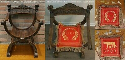 Antique Roman Caesar French Carved Oak Curule Chair Seat Renaissance Throne