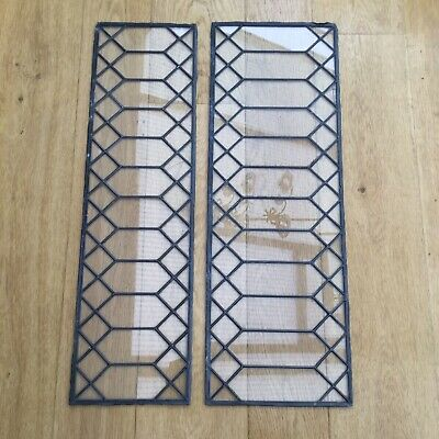 Antique Stained Glass Leaded Windows X 2 Georgian Diamond Old Salvage Vintage