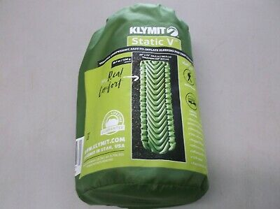 "Klymit Insulated Static V Full Sized Lightweight Sleeping Pad 23""x72"" Green NEW"