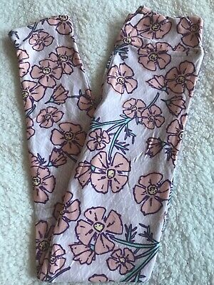 LuLaRoe Kids Leggings NWT L/XL Large XLarge Lavender Diamonds/ Pink Floral