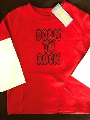 New GYMBOREE Boys 2T BORN to ROCK ON Red Shirt Top Layered Look band star drums