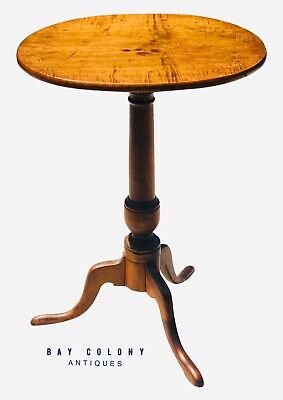18Th C Antique Queen Anne Period Tiger Maple Candle Stand