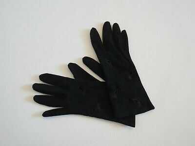 Black Vintage Gloves With Eyelet Embroidery