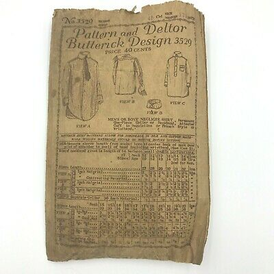 Antique 1919 Butterick Sewing Pattern Mens Boys Negligee Shirt INCOMPLETE PT2