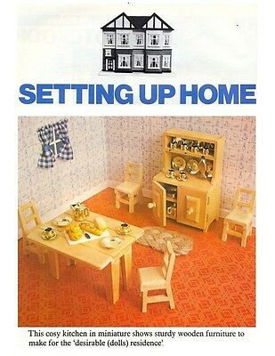Dolls' House Kitchen Furniture DIAGRAM Plans & Instructions - NOT FINISHED ITEMS