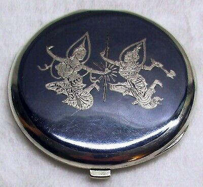 Vintage Siam Sterling Silver Royal Thai Dancers Niello Cosmetic Compact