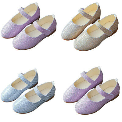 Toddler Children Kid Girls Solid Bling Wave Princess Student Single Casual Shoes