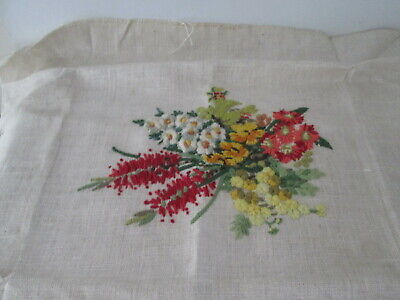 Floral Needlepoint Long Stitch Flowers Finished Fabric Vintage years