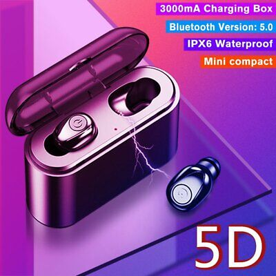 TWS Wireless 5.0 Headsets Earbuds 5D Stereo In-Ear Headphones Mic w/ Charger Box