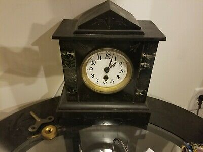Antique French Slate Marble Black Clock Works Good! Complete
