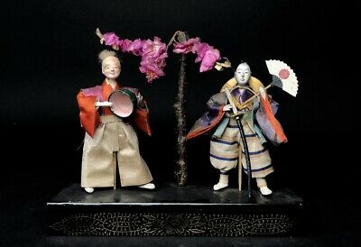 2 Antique Doll NINGYO Japanese SAMURAI MUSHA Doll & Old Man