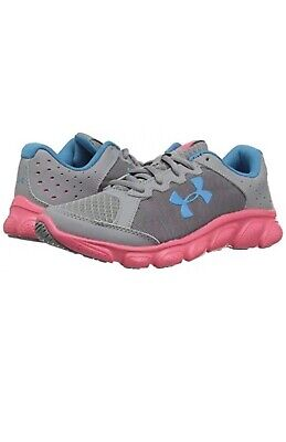 """Under Armour """"GPS Assert 6"""" Youth Girl's Steel Grey Sneakers~~Size 4 Youth"""
