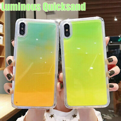 For iPhone XS Max XR X 7 8 Plus Case Shockproof Dynamic Quicksand Luminous Cover