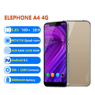 "Elephone A4 4G Smartphone 5.85"" Quad-Core Android 8.1 3GB 16GB Side Fingerprint"