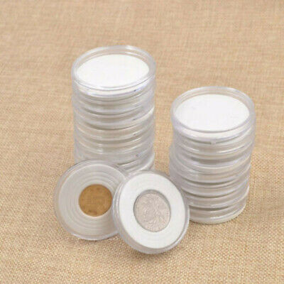 20 Pieces Coin Cases Capsules Holder Applied Clear Plastic Round Storage Box Kit