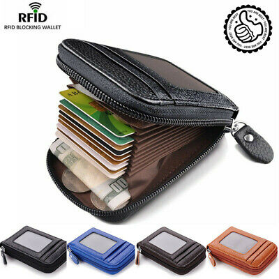 Men's Wallet Real Leather Credit Card Holder RFID Blocking Zipper Thin Pocket hi