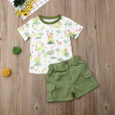 US Toddler Kids Baby Boys Clothes Top T-Shirt Short Pants Animal Summer Outfit