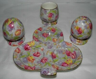 1953 ROYAL WINTON Chintz STRATFORD Pattern 4 Pc Set SALT PEPPER MUSTARD & TRAY