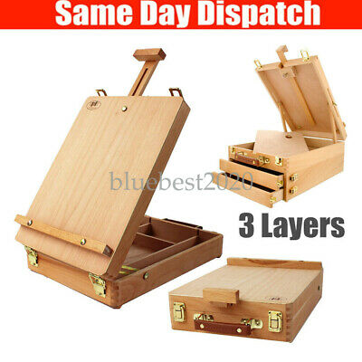 Wooden Portable Artist's Durable Paint Box Sketch Classic Easel Folding 3 Layers