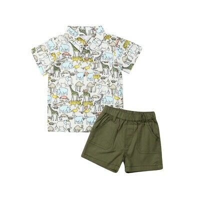 2PCS Baby Boy Toddler Kids Clothes Animal Print T-Shirt+Shorts Outfits Clothes