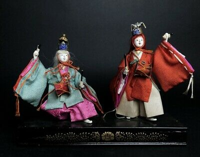 2 Antique NINGYO Japanese Dolls Playing Drum NOH KABUKI Play TSURU KAME