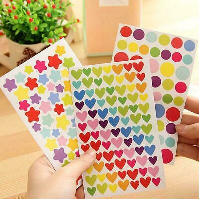 6Pcs/Set Colorful Paper Sticker Lovely Star/Heart/Dot DIY Stickers Gift Pat R8W7