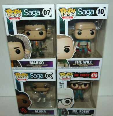 4) Pop! Comics Saga #7/8/10 The Will & Marko Funko + MR ROBOT CHASE ? Set Lot