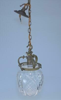 Cut Glass Crystal Ceiling Light with Decorative Brass Gallery, Rewired