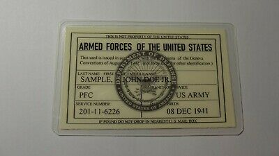 Geneva 2 1/8 X 3 3/8 Replacement Card  Army Navy USAF USMC USCG Not an ID card