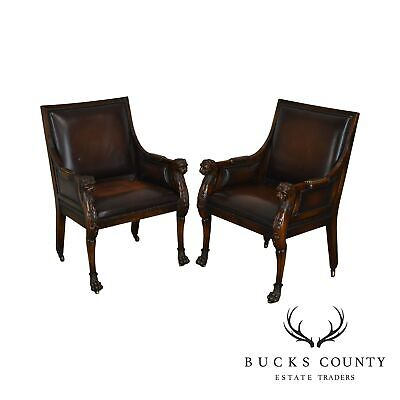 Maitland Smith Carved Mahogany Lion Head Pair Brown Leather Armchairs