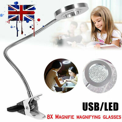 8X Magnifying Glass Beauty Nail Salon Tattoo Magnifier Light Lamp Desk Table Top