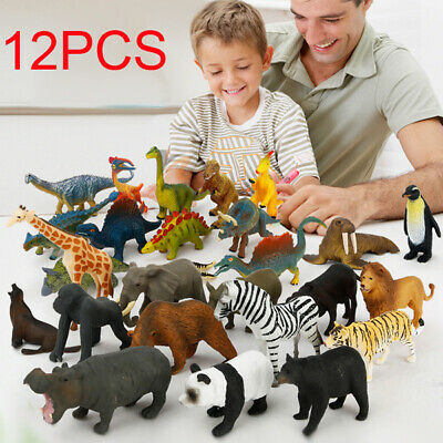 12x Kids Small Plastic Figures Wild Ocean Farm Animals Dinosaur Model Toys Gifts