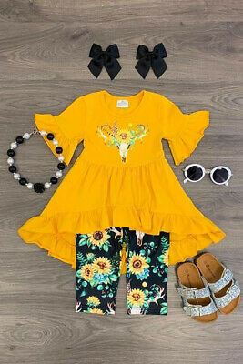 Boutique Toddler Kids Baby Girl Top Dress Flower Pants Legging Outfit Clothes US