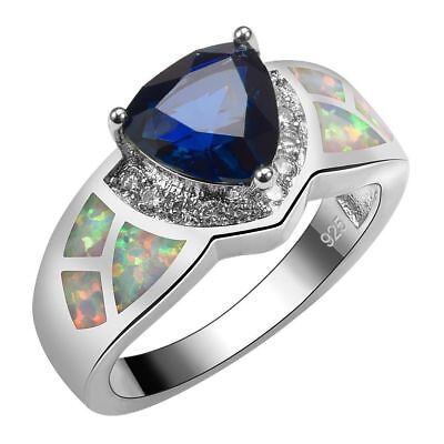 Handcrafted Rare Antique Design Blue Sapphire White Fire Opal Ring Size 7 Gift
