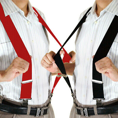 "2"" 50mm Wide Mens X-Back X Shape Heavy Duty Trousers Brace Suspenders Black Red"