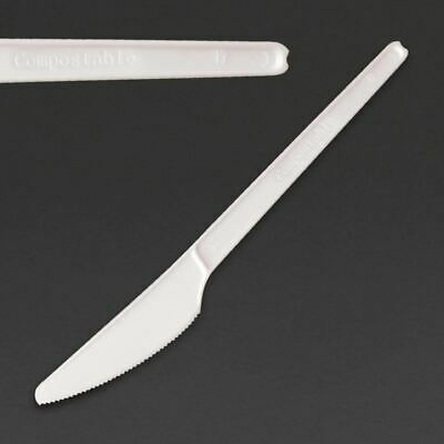 Fiesta Green CPLA Compostable Knife in White - Pack of 100 - 152 mm