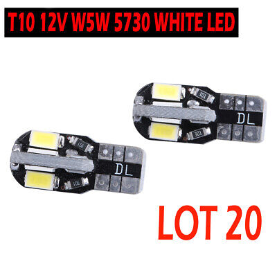 20x CANBUS T10 Wedge 8 SMD Parker Number Plate LED Bulbs W5W 194 168 131 WHITE