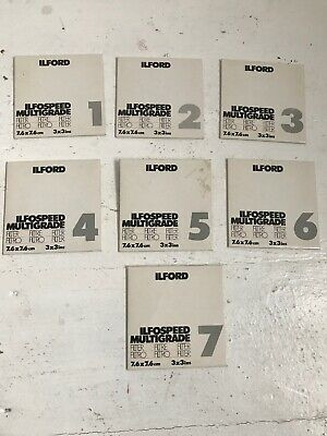 """Set of ILFORD Multigrade filters 1-7 - one missing (no:2) 3"""""""
