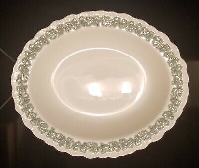 "Wedgwood embossed Queensware shell edge Celadon on Cream- 9"" Oval Vegetable Bowl"