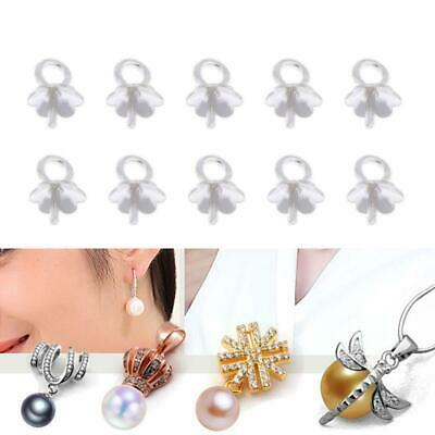 10x Sterling Silver Cup Pearl Bail Pin Pendant Charms for DIY Jewelry Making