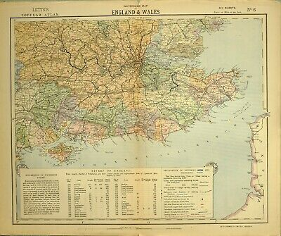 1883 Letts Map South East England & Wales London Middlesex Surrey Rivers Kent