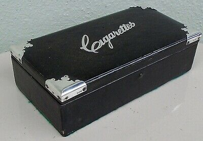 Antique Silver & Black Leather Large Cigarette Box London 1886