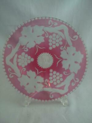 Fine Quality Antique Cranberry Glass Wheel Cut To Clear Plate, Signed J. Moore