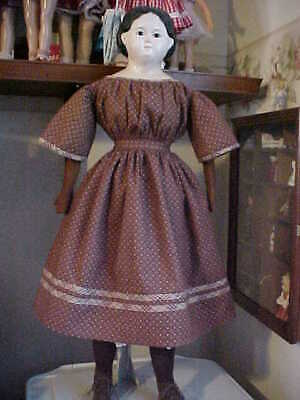 """Antique Repro Brown Print Dress For 26-29"""" Paper Mache, China, Bisque Doll"""