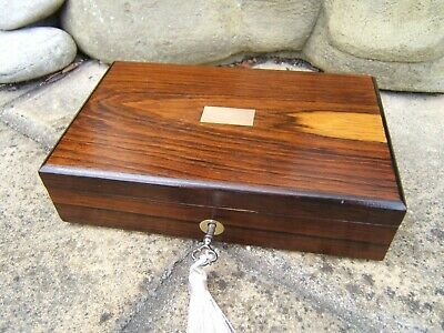 Terrific 19C Antique Rosewood Inlaid Document/Jewellery Box - Fab Interior