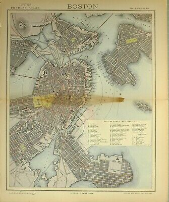 1883 Letts Map City Of Boston Plan Navy Yard Jail College Library City Hall