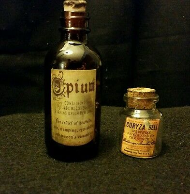 Vintage Style  Opium  & Morphine Glass Medicine Bottles Handcrafted by Artist