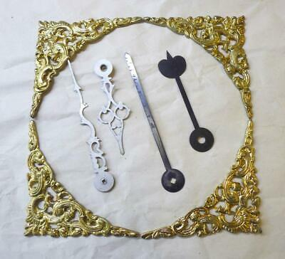 Gilded 9 Cms Grandfather Clock Spandrels With 2 Sets Of Hands