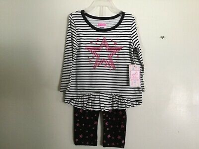 2 piece outfit pink white black Little Girls 18 months Sparkly Stars NWT