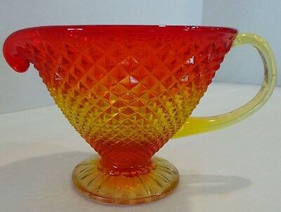 Vintage Amberina Glass Footed Pitcher Orange Yellow Red Pressed Diamond Point